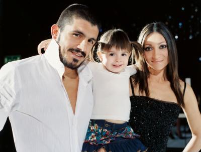 Gattuso с дочкой и женой Моникой фото