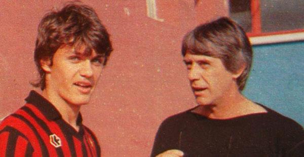 Maldini с отцом на тренировках в Милане - фото