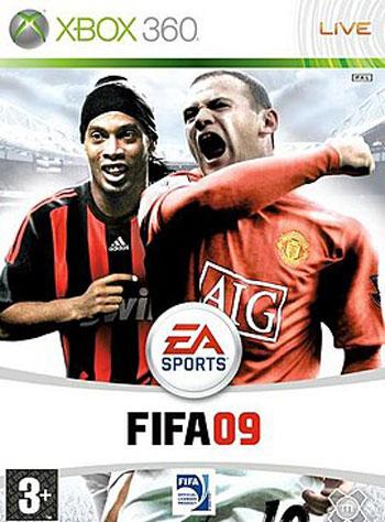 Обложка игры FIFA 09 с Роналдиньо