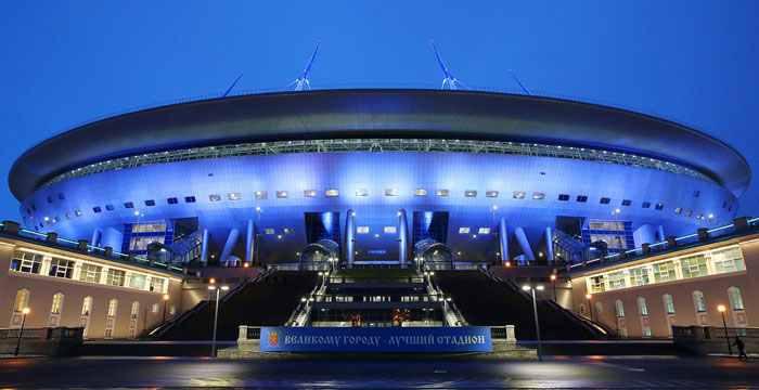 Арена Газпром ночью - фото на startfootball.info