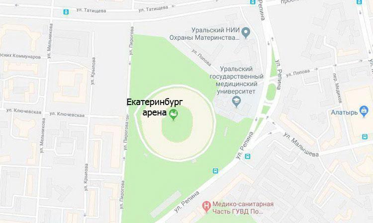 Екатеринбург арена на карте - фото на startfootball.info