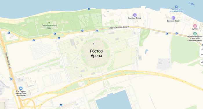 Ростов Арена на карте - фото на startfootball.info
