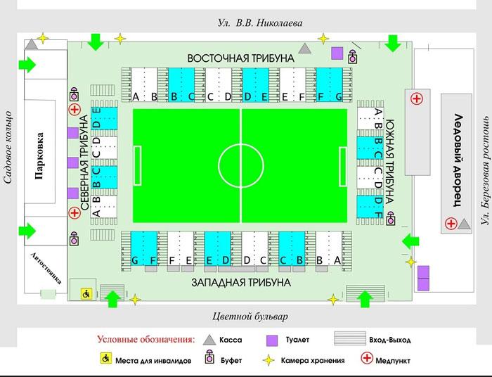 Схема мест стадиона Газовик Оренбург - фото на startfootball.info