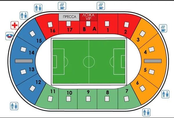 Схема где что есть на стадионе Арсенал в Туле - фото на startfootball.info