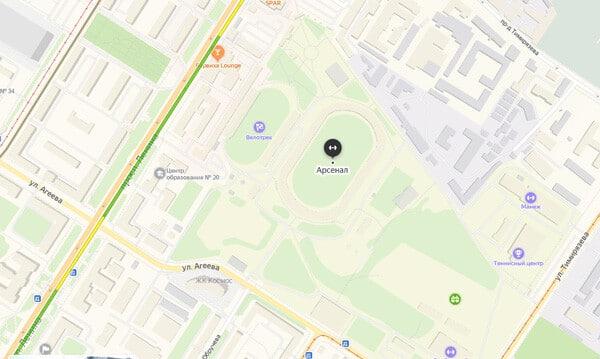 Месторасположение стадиона Тула Арсенал - картинка на startfootball.info